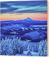 Morning From Timberline Lodge Wood Print
