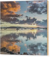 Morning Reflections Waterscape Wood Print