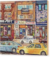 Morrie Heft Elizabeth Hager Le Chef Jj Joubert On Queen Mary Rd Stores C Spandau Montreal Wood Print