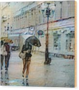 Moscow In The Rain Wood Print