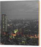 Mostly Black And White Tokyo Skyline At Night With Vibrant Selective Colors Wood Print