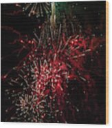 Mostly Red And White Fireworks Wood Print