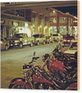 Motor Bikes And Cars Parking At Cannery Wood Print