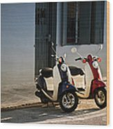 Motorbikes Parked On The Road Wood Print