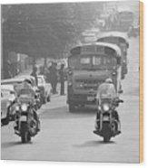 Motorcycle Police Escort School Bus Wood Print