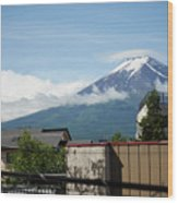 Mount Fuyji From A Distance With Clouds Around It Wood Print