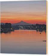 Mount Hood Over Columbia River At Dawn Wood Print