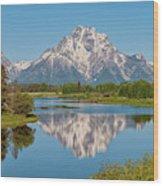 Mount Moran On Snake River Landscape Wood Print