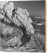 Mount St. Helens Eruption And Mount Hood Wood Print