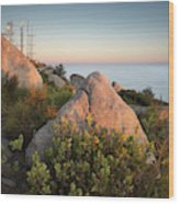 Mount Woodson Rock An Clouds Wood Print