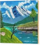 Mountain By The Lake Wood Print