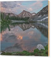 Mountain Lake Sunset Wood Print