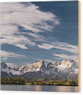 Mountain Range At Sunset Seen From Rio Wood Print