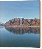 Mountain Reflected On Lake Hawea Wood Print