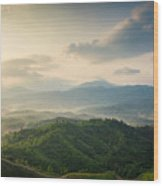 Mountains Under Mist In The Morning In Wood Print