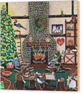 Ms. Elizabeth's Holiday Home Wood Print