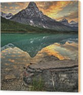 Mt Chephren Sunset Wood Print
