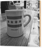 mug of coffee with the chicago flag in stans donuts in wicker park Chicago IL USA Wood Print