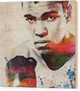 Muhammad Ali Watercolor Portrait Wood Print