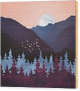 Mulberry Dusk Wood Print