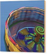 Multicolored Spinning Carnival Ride Wood Print