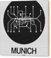 Munich Black Subway Map Wood Print