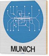 Munich Blue Subway Map Wood Print