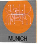Munich Orange Subway Map Wood Print