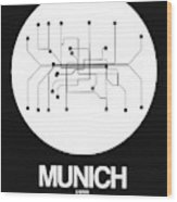 Munich White Subway Map Wood Print