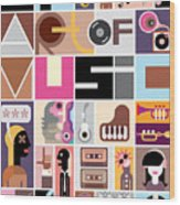 Musical Collage Of Various Images - Wood Print