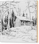 My Cabin In The Woods Wood Print