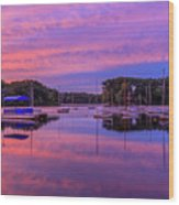 Mystic Lake Sunrise Wood Print