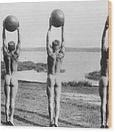 Naked Ball Exercise Wood Print