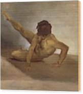 Naked Man Reversed On The Ground Wood Print