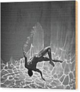 Naked Man Underwater Wood Print