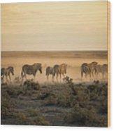 Namibia, Etosha National Park, Herd Wood Print