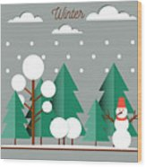 Nature, Winter Landscape With Christmas Wood Print