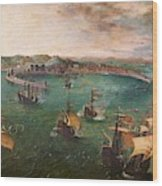 Naval Battle In The Gulf Of Naples Wood Print