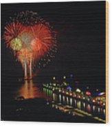 Navy Pier Fireworks Wood Print