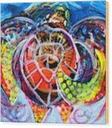 Neon Sea Turtle Wake And Drag Wood Print
