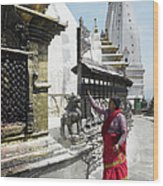 Nepal, Bagmati, Kathmandu, Local Woman Wood Print