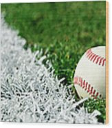 New Baseball Along Foul Line Wood Print