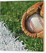 New Baseball In Glove Along Foul Line Wood Print