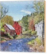 New Boston New Hampshire Watercolor Wood Print