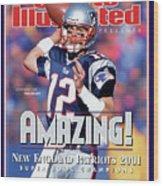 New England Patriots Qb Tom Brady, Super Bowl Xxxvi Sports Illustrated Cover Wood Print