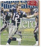 New England Patriots Qb Tom Brady, Super Bowl Xxxviii Sports Illustrated Cover Wood Print