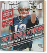 New England Patriots Quarterback Tom Brady, 2013 Nfl Sports Illustrated Cover Wood Print