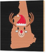 New Hampshire Christmas Antler Red Nose Reindeer Wood Print