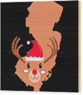 New Jersey Christmas Hat Antler Red Nose Reindeer Wood Print