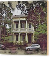 New Orleans Home In Watercolor Wood Print